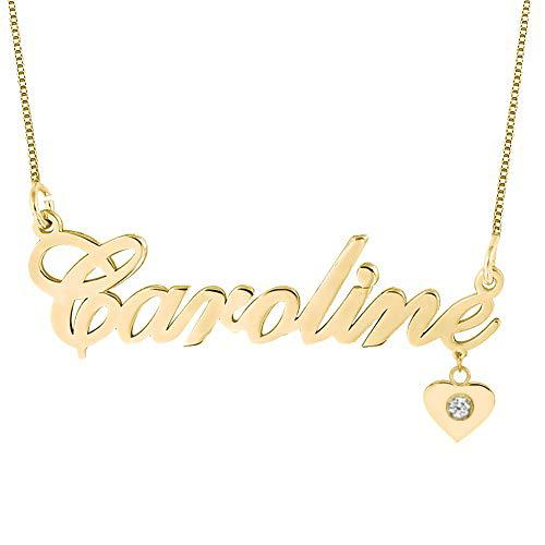 PERSONALIZED NAME NECKLACE WITH HANGING HEART