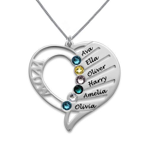 ENGRAVED MOTHER HEART 6 BIRTHSTONES LOVE