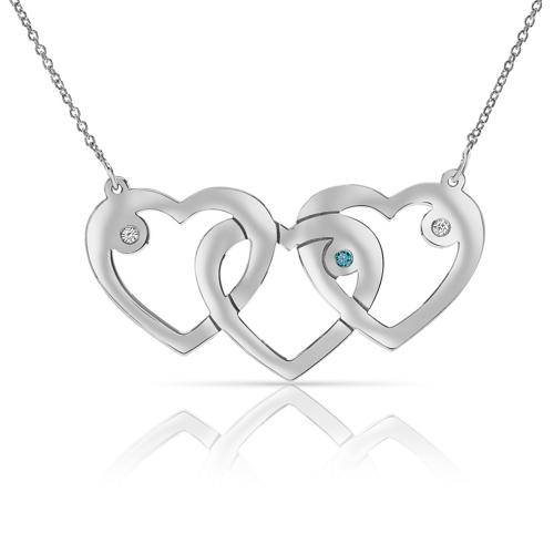 INTERTWINED 3 HEART WHITE BLUE DIAMOND NECKLACE