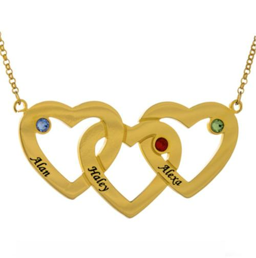 INTERTWINED HEART BIRTHSTONE NECKLACE