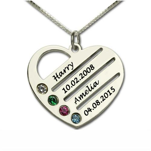 PERSONALIZED MOTHER HEART 4 BIRTHSTONE