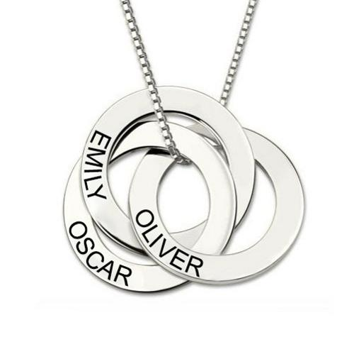 ENGRAVED 3 RUSSIAN RINGS NAME NECKLACE