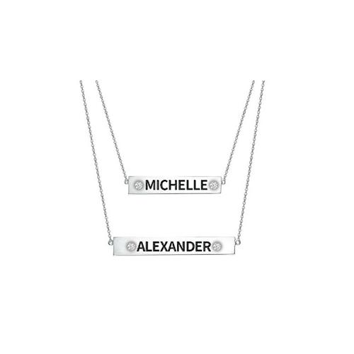ENGRAVED BAR NAME NECKLACE SET VERTICAL