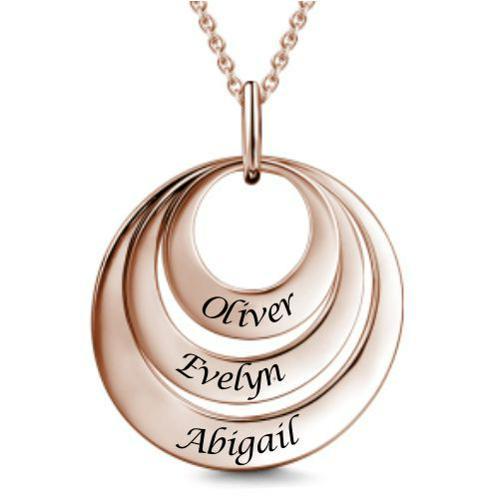 ENGRAVED LOVE NAME NECKLACE CIRCLE AND HEART