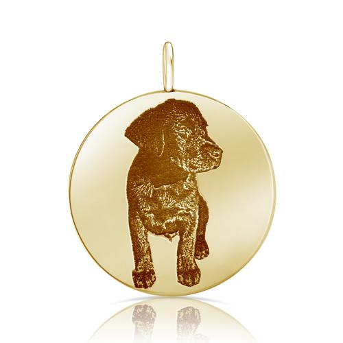 PICTURE ENGRAVED MEDALLION DOG 18K