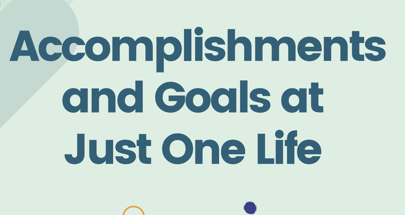 Just One Life Accomplishments and Goals
